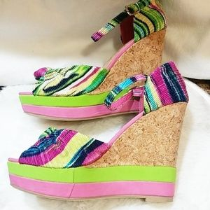 Multi color womens wedges